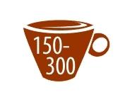 от 150 до 300 чашек
